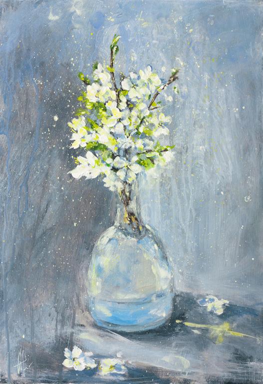 Картины цветов ручной работы. Ярмарка Мастеров - ручная работа. Купить Сыплет черемуха снегом. Handmade. Голубой, белый, цветы