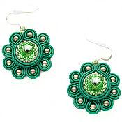 Украшения handmade. Livemaster - original item Soutache earrings green Flowers crystals and pearls Swarovski. Handmade.