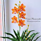 Цветы и флористика ручной работы. Ярмарка Мастеров - ручная работа Яркая орхидея цимбидиум из полимерной глины. Handmade.