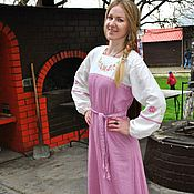 Русский стиль handmade. Livemaster - original item Russian Slavic long linen dress with embroidery Miroslava. Handmade.