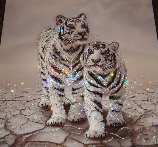 """Животные ручной работы. Ярмарка Мастеров - ручная работа. Купить """"Пара тигров"""". Handmade. Комбинированный, ручная работа, сваровски кристаллы"""