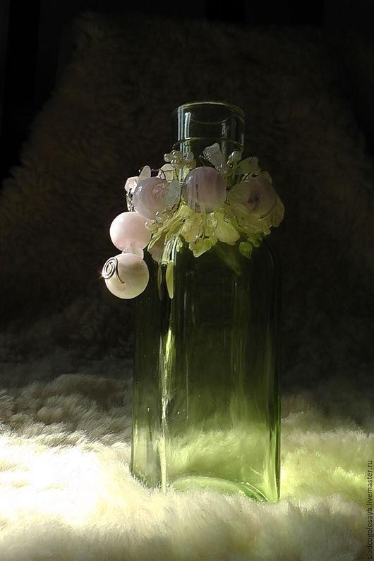 """Подарочное оформление бутылок ручной работы. Ярмарка Мастеров - ручная работа. Купить """"Невеста"""", ловец солнца. Розовый кварц, стекло ручной работы, мельхиор. Handmade."""