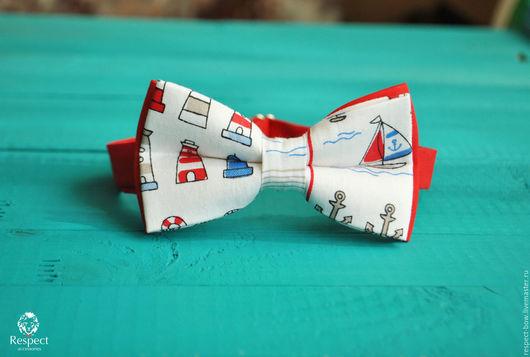 Галстуки, бабочки ручной работы. Ярмарка Мастеров - ручная работа. Купить Белая бабочка галстук Вояж / галстук бабочка с лодками и якорями. Handmade.