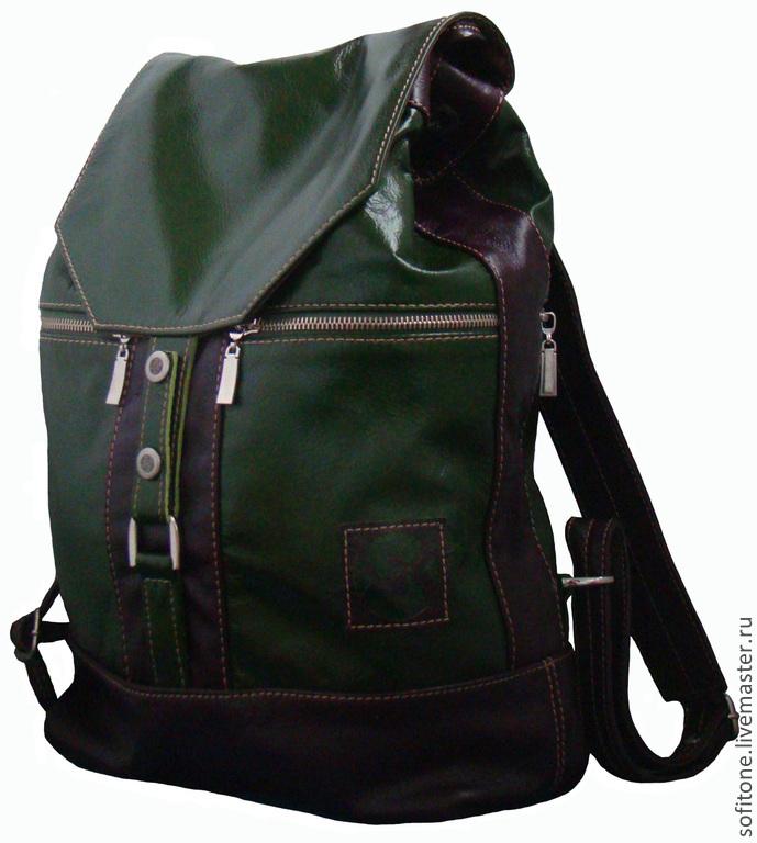 22f0bf54adb9 Рюкзак городской кожаный Зеленый с коричневым – купить в интернет ...
