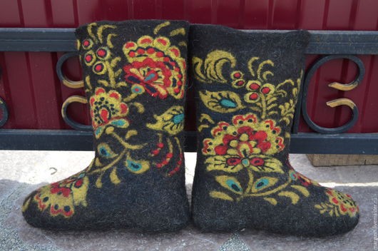 Обувь ручной работы. Ярмарка Мастеров - ручная работа. Купить Валенки   Хохлома. Handmade. Комбинированный, ручная работа, хохлома
