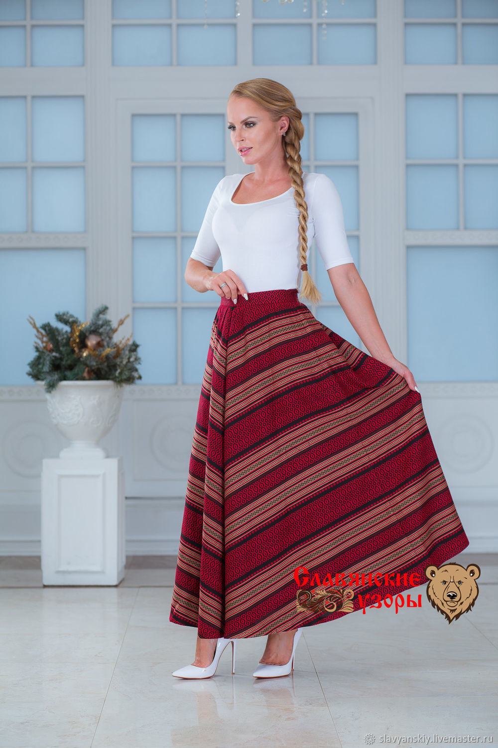 Warm skirt with pockets 'Christmas tree' red-Burgundy, Skirts, St. Petersburg,  Фото №1