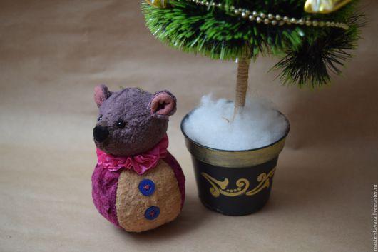 Мишки Тедди ручной работы. Ярмарка Мастеров - ручная работа. Купить Ёлочная игрушка в стиле тедди Мышь. Handmade. Брусничный