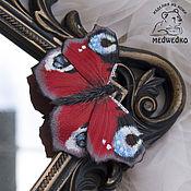 Украшения handmade. Livemaster - original item Brooch leather Butterfly Peacock-2. Handmade.