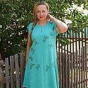 """Одежда ручной работы. Ярмарка Мастеров - ручная работа Нарядное летнее платье """"Листья и цветы"""" мятный хлопок. Handmade."""