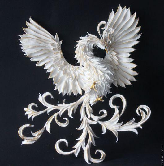 """Фэнтези ручной работы. Ярмарка Мастеров - ручная работа. Купить объемное пано на стену """"Жарптица белая с золотом"""" (феникс, жар птица). Handmade."""