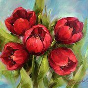 Картины и панно handmade. Livemaster - original item Oil painting red Tulips painting. Handmade.