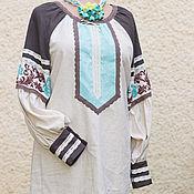 """Одежда ручной работы. Ярмарка Мастеров - ручная работа Туника женская """"Бирюза"""", вышиванка. Handmade."""
