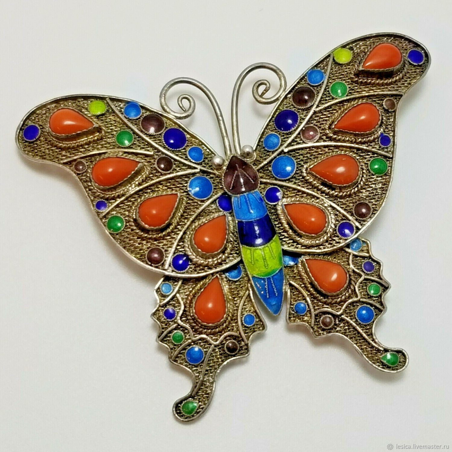 Butterfly brooch exp. China silver coral enamel, Vintage brooches, Ramenskoye,  Фото №1