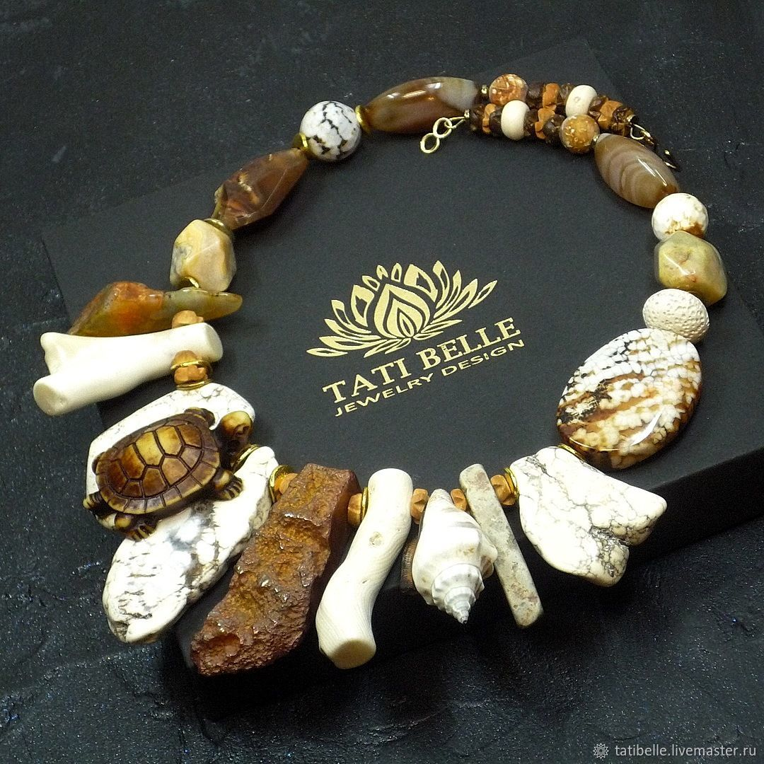Necklace of natural stones 'Turtle Island', Necklace, Moscow,  Фото №1
