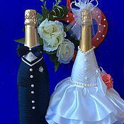 """Бутылки ручной работы. Ярмарка Мастеров - ручная работа Оформление свадебных бутылок """" Жених и невеста """""""" ( повтор). Handmade."""