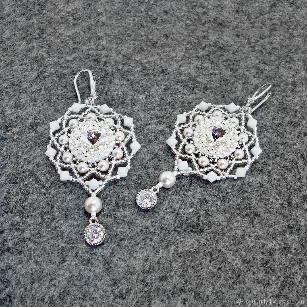 Swan's fidelity earrings with Swarovski crystals and cubic Zirconia, Earrings, Abakan,  Фото №1