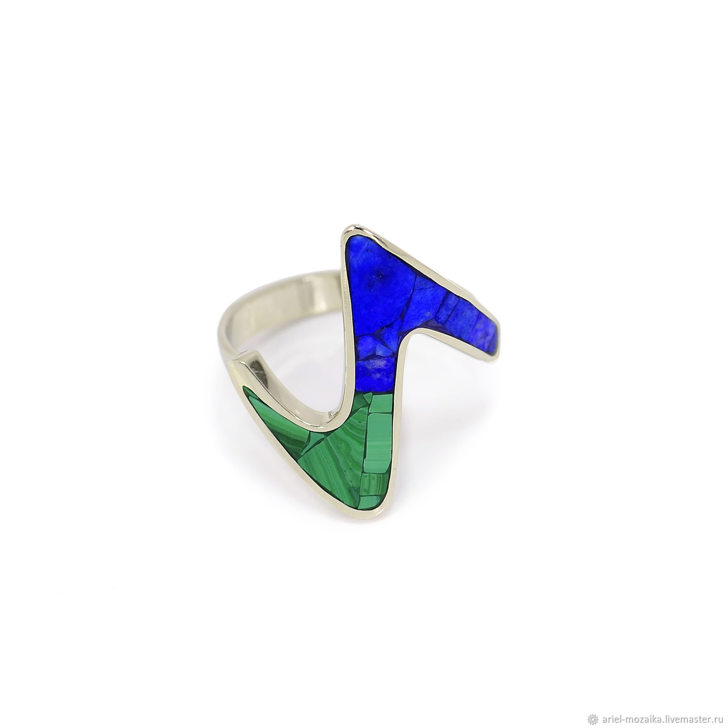 Lapis lazuli and malachite RING. Size 16.5. Ring 'Snake', Rings, Moscow,  Фото №1