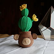 Для дома и интерьера handmade. Livemaster - original item Cactus in pot with a monkey. Blooms all year round. Handmade.