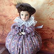 Куклы и игрушки ручной работы. Ярмарка Мастеров - ручная работа Игольница, Дама в сиреневом. Handmade.