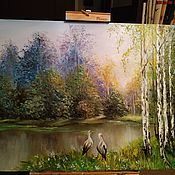 Картины ручной работы. Ярмарка Мастеров - ручная работа Картины: Утро в лесу. Handmade.
