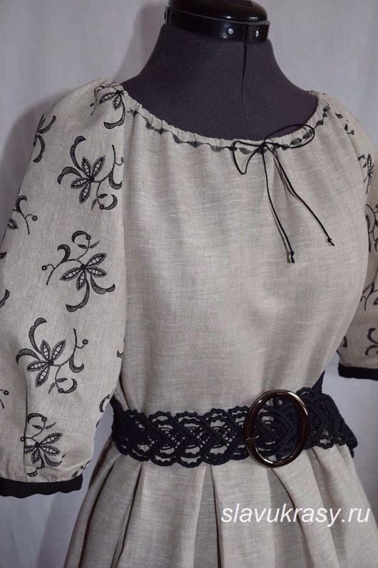 Одежда ручной работы. Ярмарка Мастеров - ручная работа. Купить Платье из натурального льна.. Handmade. Славянский стиль, натуральные материалы