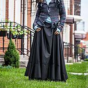 Одежда ручной работы. Ярмарка Мастеров - ручная работа V_006 Юбка-солнце с отделкой из кружева, цвет черный. Handmade.