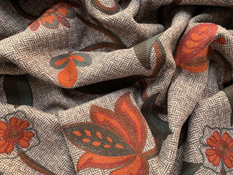 Ткань Пальтовая Шерсть Kenzo Вышитые Цветы Франция, Ткани, Москва,  Фото №1