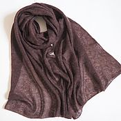 Аксессуары handmade. Livemaster - original item Stole brown melange knitted kid mohair black scarf. Handmade.