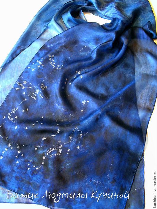 """Шарфы и шарфики ручной работы. Ярмарка Мастеров - ручная работа. Купить батик  шарф """"Звездное небо"""" тонкий шелк. Handmade."""