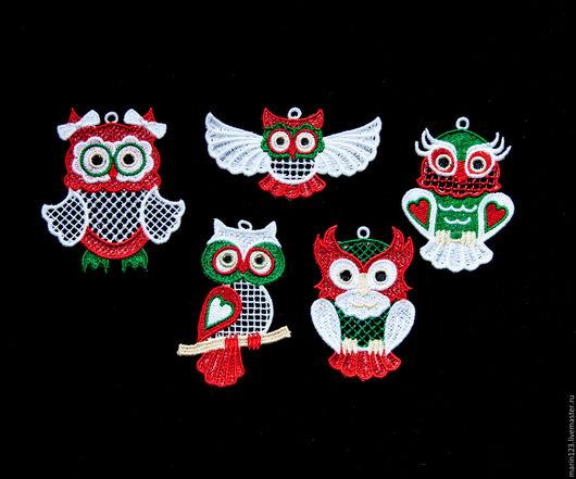 Новый год 2017 ручной работы. Ярмарка Мастеров - ручная работа. Купить Скандинавские совы.. Handmade. Ярко-красный, красно-белый