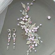 Украшения в прическу ручной работы. Ярмарка Мастеров - ручная работа Пудровый розовый гребень в прическу невесты Свадебный гребень невесты. Handmade.