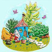Иллюстрации ручной работы. Ярмарка Мастеров - ручная работа Гном-садовник. Спиртовые маркеры. Handmade.