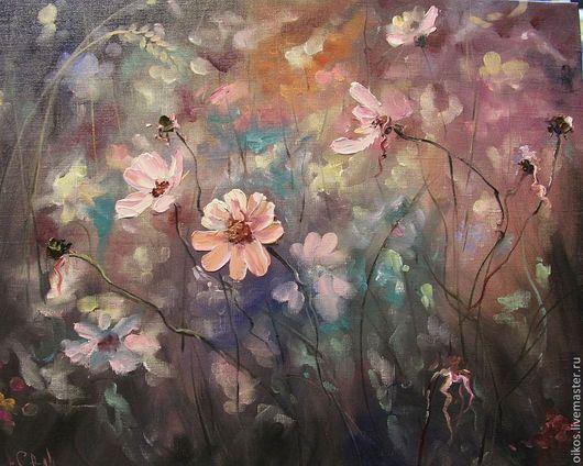 Картины цветов ручной работы. Ярмарка Мастеров - ручная работа. Купить Полевые цветы - авторская картина маслом. Handmade. Поле