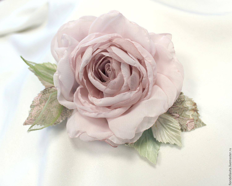 Brooch flower fabric chiffon rose ' More tender than tender', Hairpins, Vidnoye,  Фото №1