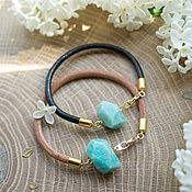 Украшения handmade. Livemaster - original item Leather bracelet with amazonite.. Handmade.