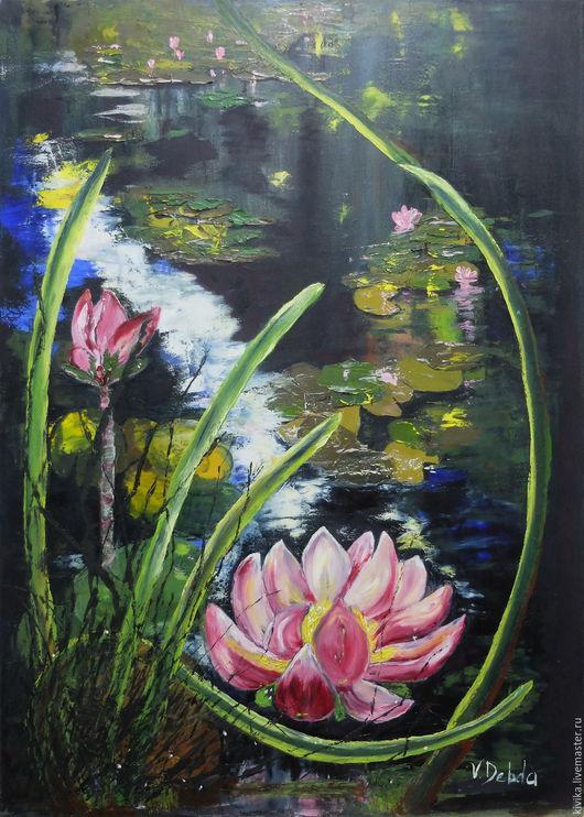 Картины цветов ручной работы. Ярмарка Мастеров - ручная работа. Купить Розовый лотос картина холст 50 на 70 масло в раме феншуй  лилия цветок. Handmade.