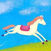 Элементы интерьера ручной работы. Ярмарка Мастеров - ручная работа Иллюстрация Одна лошадка белая для детской комнаты.. Handmade.