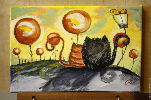 Животные ручной работы. Ярмарка Мастеров - ручная работа. Купить Коты на краешке земли. Handmade. Оранжевый, коты, подарок женщине