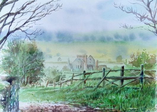 """Пейзаж ручной работы. Ярмарка Мастеров - ручная работа. Купить Акварель """"Туманная Ирландия."""". Handmade. Зеленый, картина в подарок"""
