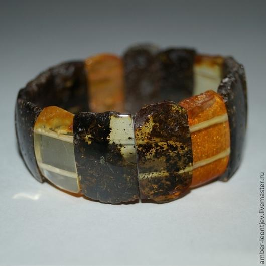 Браслеты ручной работы. Ярмарка Мастеров - ручная работа. Купить Необработанный браслет из черно-прозрачно-желтого янтаря для Зинаиды. Handmade.