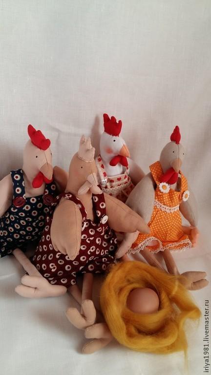 Куклы Тильды ручной работы. Ярмарка Мастеров - ручная работа. Купить Петухи и Куры. Handmade. Разноцветный, хлопок 100%