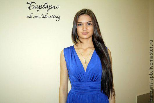 Платья ручной работы. Ярмарка Мастеров - ручная работа. Купить Длинное синее платье Манго с запахом. Handmade. Тёмно-синий