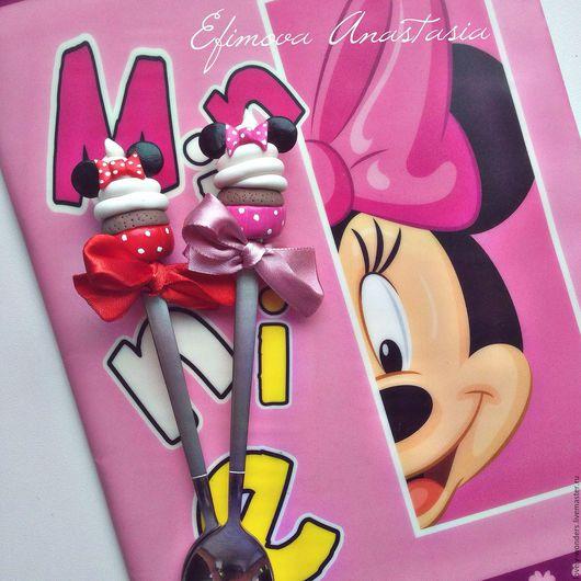 """Ложки ручной работы. Ярмарка Мастеров - ручная работа. Купить Вкусные ложки """"Little Minnie"""". Handmade. Коралловый, Микки Маус"""