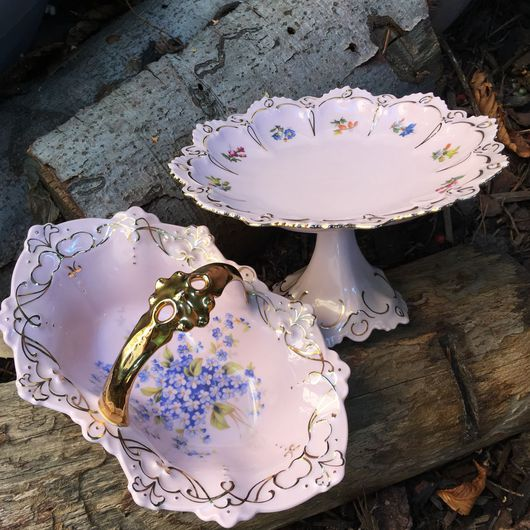 """Винтажные сувениры. Ярмарка Мастеров - ручная работа. Купить Блюдо на ножке  """"Розовые сны"""" розовый фарфор. Handmade. Конфетница, цветы"""