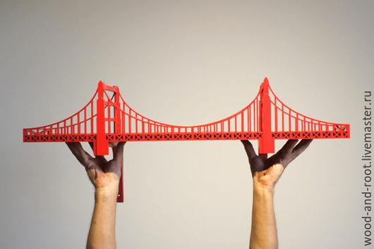 """Мебель ручной работы. Ярмарка Мастеров - ручная работа. Купить Полка-мост """"Золотые Ворота"""" (Golden Gate Bridge) 79x18 см. Handmade."""