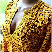 Одежда ручной работы. Ярмарка Мастеров - ручная работа Туника вязаная летняя  горчичного цвета. Handmade.