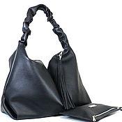 Сумка - Мешок  - Хобо - Шоппер - черного цвета с карманом и косметичка