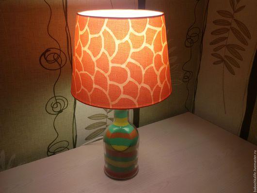 Освещение ручной работы. Ярмарка Мастеров - ручная работа. Купить Настольная лампа. Handmade. Оранжевый, лампа, песок, АБАЖУР