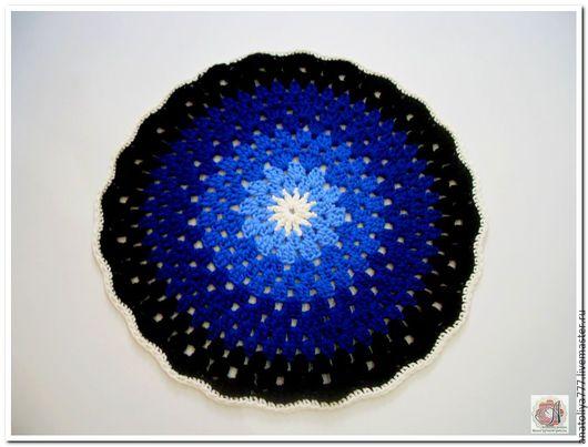 Текстиль, ковры ручной работы. Ярмарка Мастеров - ручная работа. Купить Вязаный коврик из шнура Лунная ночь. Handmade. Комбинированный