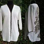 Одежда handmade. Livemaster - original item 100% Linen Cardigan Smooth .Print on the back as desired. Handmade.
